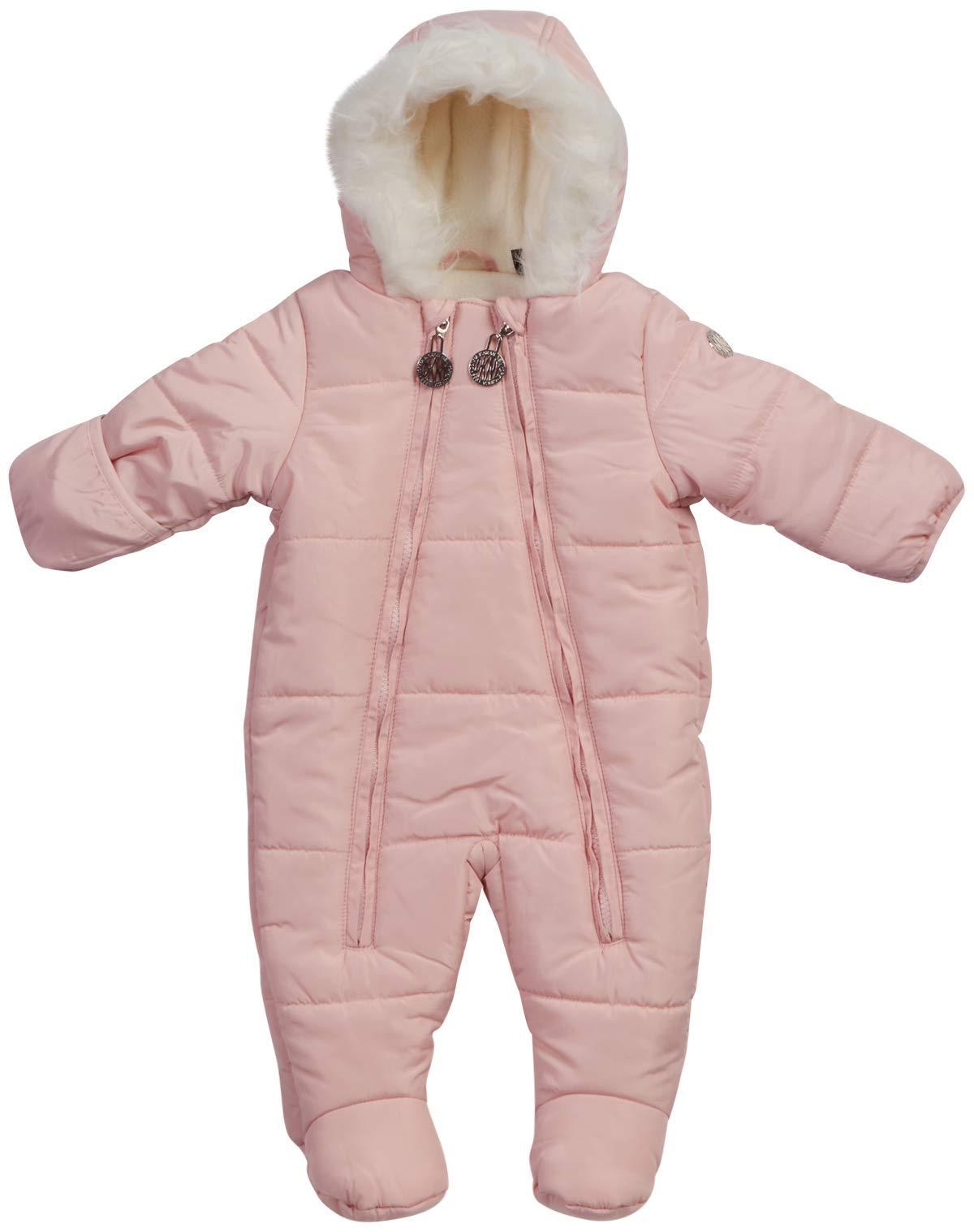 DKNY Baby Girls' Cozy Puffer Snowsuit Pram with Fur Trim, Size 6-9 Months, Blush' by DKNY