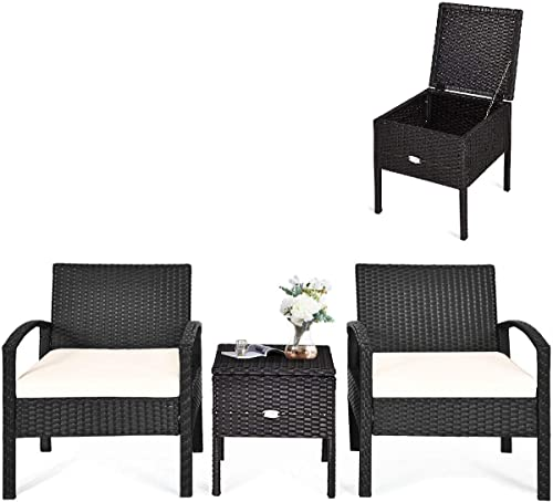 HAPPYGRILL 3-Piece Patio Furniture Set Rattan Wicker Sofa Set