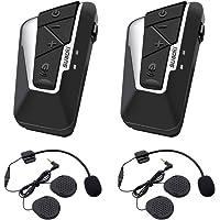 Suaoki Nouvelle Technique T9S - 1200m Intercom Moto Bluetooth, 2PCS pour Casques Kit Moto Main Libre Ecouteur Bluetooth/Oreillette Anti Bruit Casque Communication (Double)