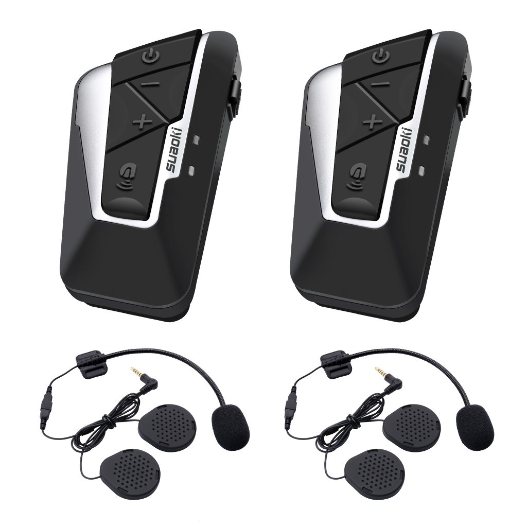 Cuffie Interfono SUAOKI 1200m Bluetooth Intercom Stereo con Microfono Impermeabile IPX6, 2 Clips Inclusi Compatibile con Casco, 2 Pacchi 222020101-US