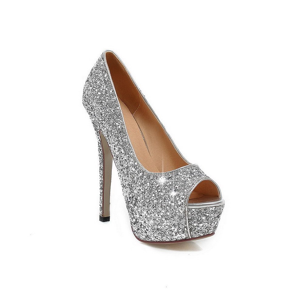 AllhqFashion Women's Pull-on High-Heels Sequins Solid Peep Toe Sandals, Silver, 43