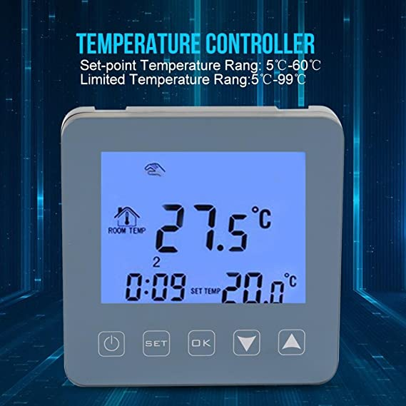 Digital 16A Electric Heating Thermostat Wifi Large LCD Screen Programmable Thermostat Temperature Controller with NTC Sensor - - Amazon.com