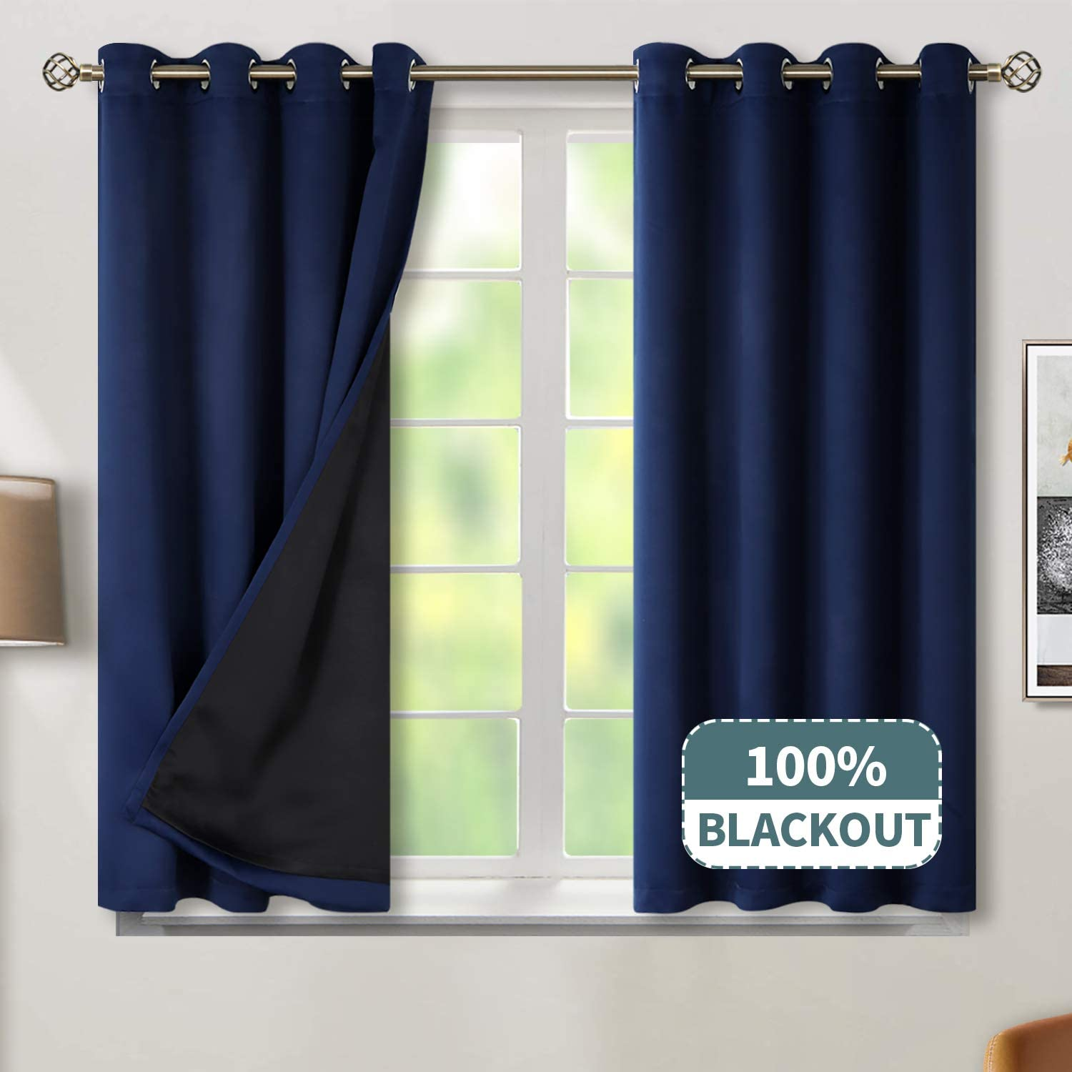 BGment Thermal Insulated 100% Blackout Curtains for Bedroom with Black Liner, Double Layer Full Room Darkening Noise Reducing Grommet Curtain (52 x 45 Inch, Navy Blue, 2 Panels)