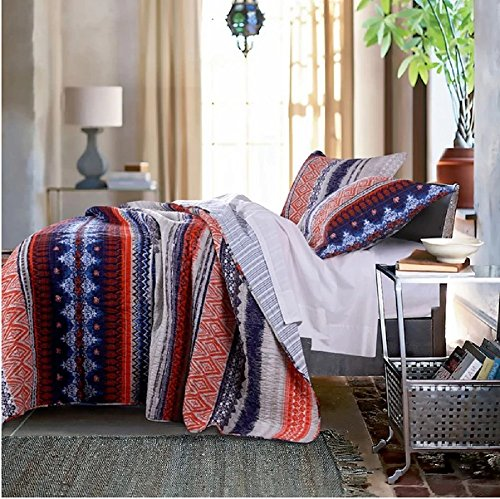 2 Piece Multi Medallion Striped Theme Quilt Twin Set, Beautiful Bohemian Lodge, Native Tribal Designs, Damask Stripes Indie Pattern, Southwestern-Inspired Style, Reversible Bedding, Blue Orange White