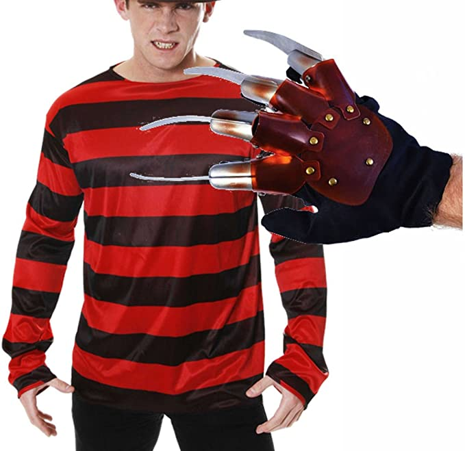Freddy Krueger Déguisement Halloween Gant, pull et chapeau: Amazon ...