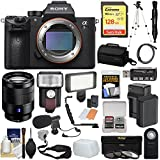 Sony Alpha A7R III 4K Wi-Fi Digital Camera Body FE 24-70mm f/4 Lens + 128GB + Battery & Charger + Case + Tripod + Filters + Flash + LED + Mic Kit