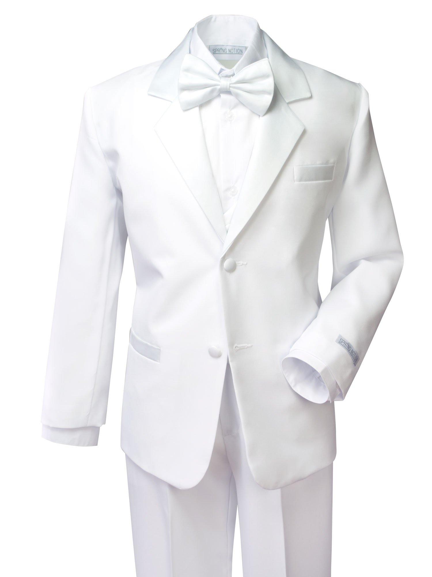 Spring Notion Boys' Classic Fit Tuxedo Set, No Tail 10 White