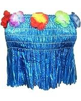 LADIES HAWAIIAN BRA STRAW FANCY DRESS SUMMER CARNIVAL LUAU HULA COSTUME (Blue)