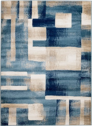 MADISON COLLECTION FN-960J-IM55 404 Modern Abstract Blue Area Clearance Soft and Durable Pile. Size Option , 1'10'' x 2'11'' Scatter Rug Door (1'10' X 2'10' Rectangular Rug)