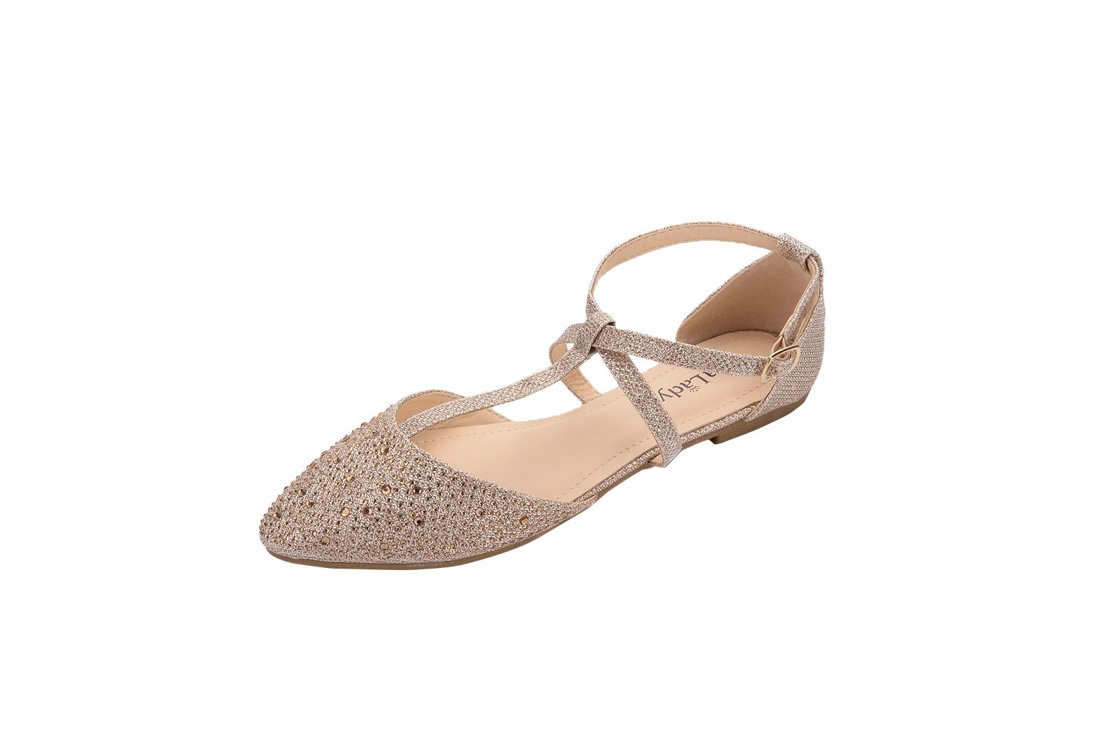 Mila Lady (Laurel Womens Pointed Toe Ankle Wrap T-Strap D'Orsay Flats,CHAMP9