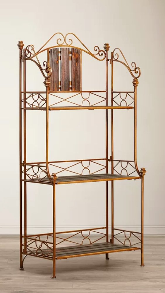 Kitchen Baker Rack 3 Tiers Shelving Storage 49''H Wood Metal Frame in Bronze Finish by Kacie