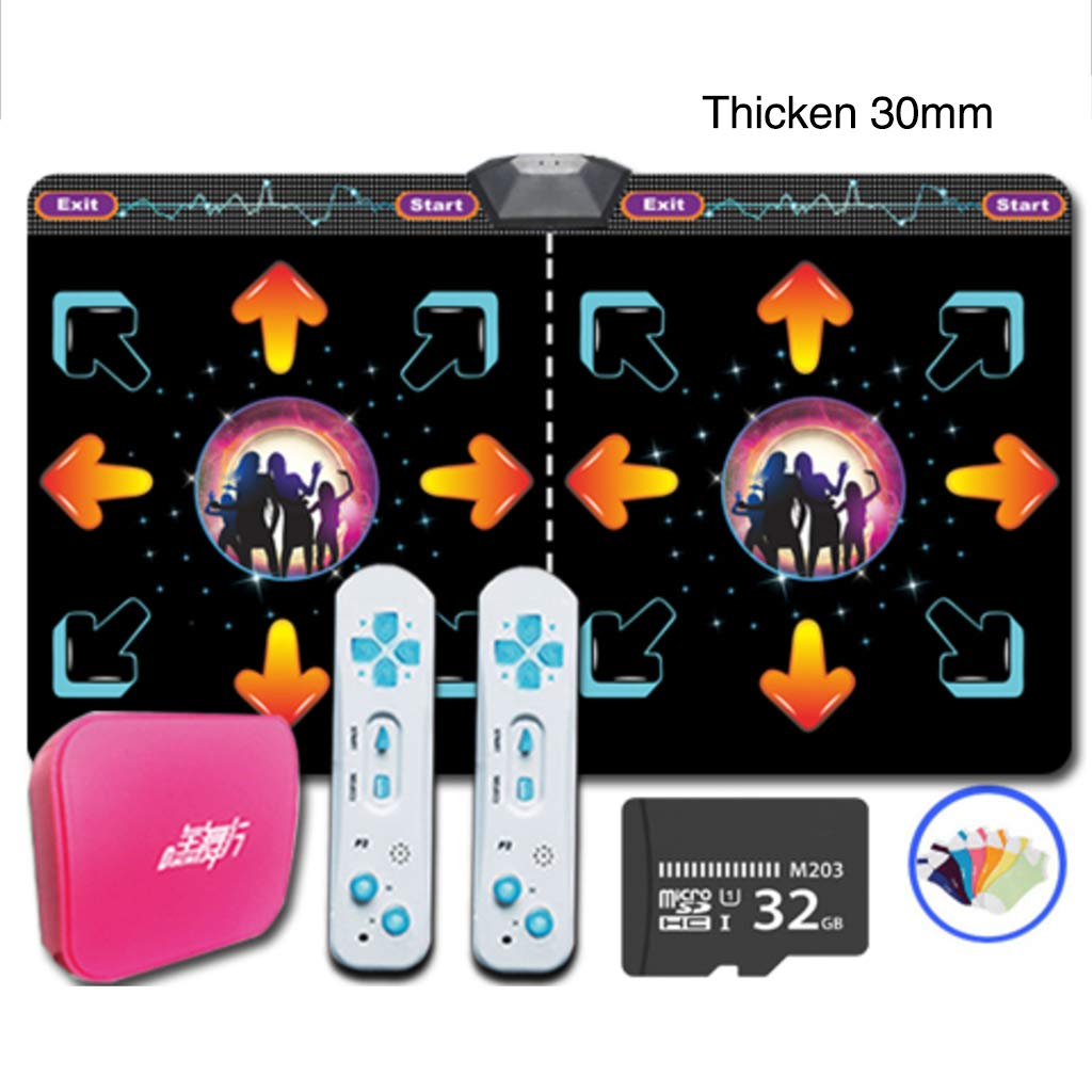 Double Wireless Dance Pad,Game Dancing Dance Revolution Fitness Lose Weight Dancing Blanket Children Musical Mat Gift-e 166x93cm(65x37inch)