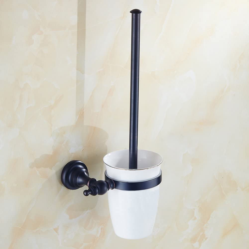 WOMAO Anneau Porte-Serviettes Rond Construction en Laiton Noir Installation Mural pour Salle de Bains Cuisine Toilette WC Style Am/éricain Oil Rubbed Bronze