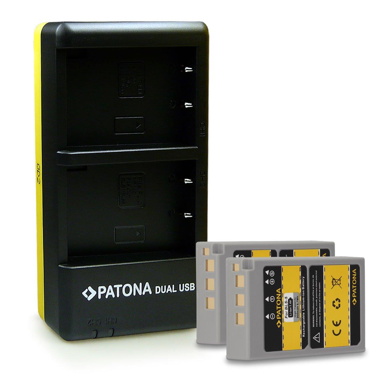 PATONA 2in1 Dual Caricabatteria con micro USB + 2x Batteria NP-W126 per Fuji X-T1 | X-E2 | X-M1 | X-E1 | X-Pro1 | X-A1 | X-T10 | X-A2 | FinePix HS50EXR | HS30EXR | HS33EXR