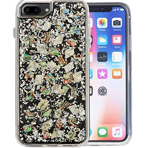 iPhone 7 Plus Bling Case Thickened Hard Shell Luxury Shining Flake [Floating Glitter Bling Hard Cover Clear Thickened Dual Layer Full Protection and Apple 6/7/8 Plus 5.5 (Silver Shell)