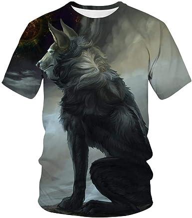 Camiseta con Estampado Digital 3D De Wolf Pack Verano Casual Hombre De Manga Corta Pareja Tops: Amazon.es: Ropa y accesorios