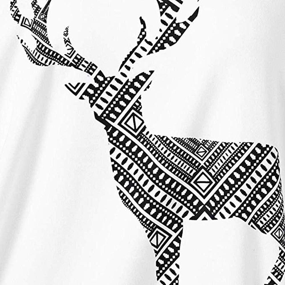 Camicetta Natale da Donna Stampa Renna di Natale Felpa con Cappuccio dalla Spalla Elegante Maglione Natale Donna Lungo Vintage Magliette di Famiglia Sweatshirt Felpa Maglia Donne