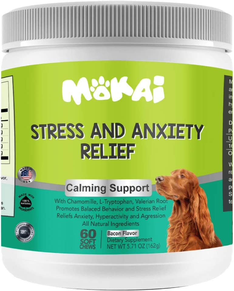 MOKAI Natural Calming Treats for Dogs | Dog Stress and Anxiety Medicine Aid with Melatonin for Hyper Dogs Fireworks Thunderstorm Travel and Separation Anxiety - 60 Chewable Treats
