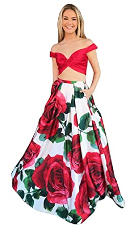 Dressylady 2018 Two Piece Off Shoulder Floral Print Satin Prom Dress: Amazon.co.uk: Clothing
