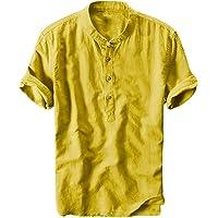 Overdose Camisas Hombre Lino De Verano Hawaiana Originales para Bodas Camisas Hombre Sin Cuello Camisetas Hombres Blusa…