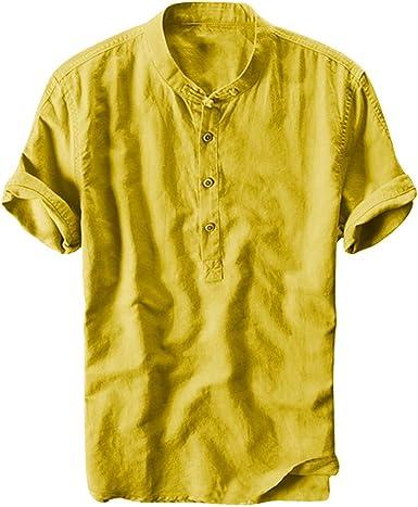Gusspower Camiseta de algodón y Lino de Manga Corta para Hombre Camisas Retro holgadas de Color
