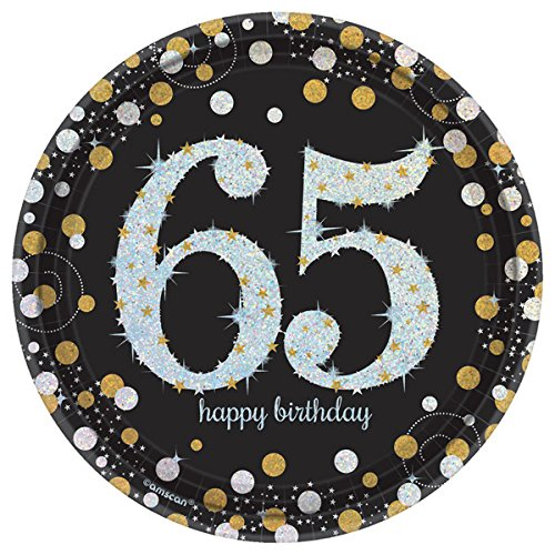 TwoTwelve Products, 65th Birthday Party Supplies, Black and Gold, 16 Guests, Sparkling Celebration Design, Bundle of 4 Items: Dinner Plates, Dessert Plates, Lunch Napkins and Beverage Napkins