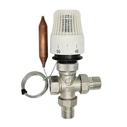 valvula 3 vias 1/2 3/4 1 pulgada con cabeza termostatica radiador agua