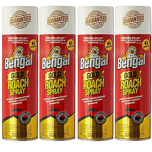 Bengal Roach Killer, 11 oz, Can, Viscous Liquid, Mild Ethereal, Spray, 4 Count