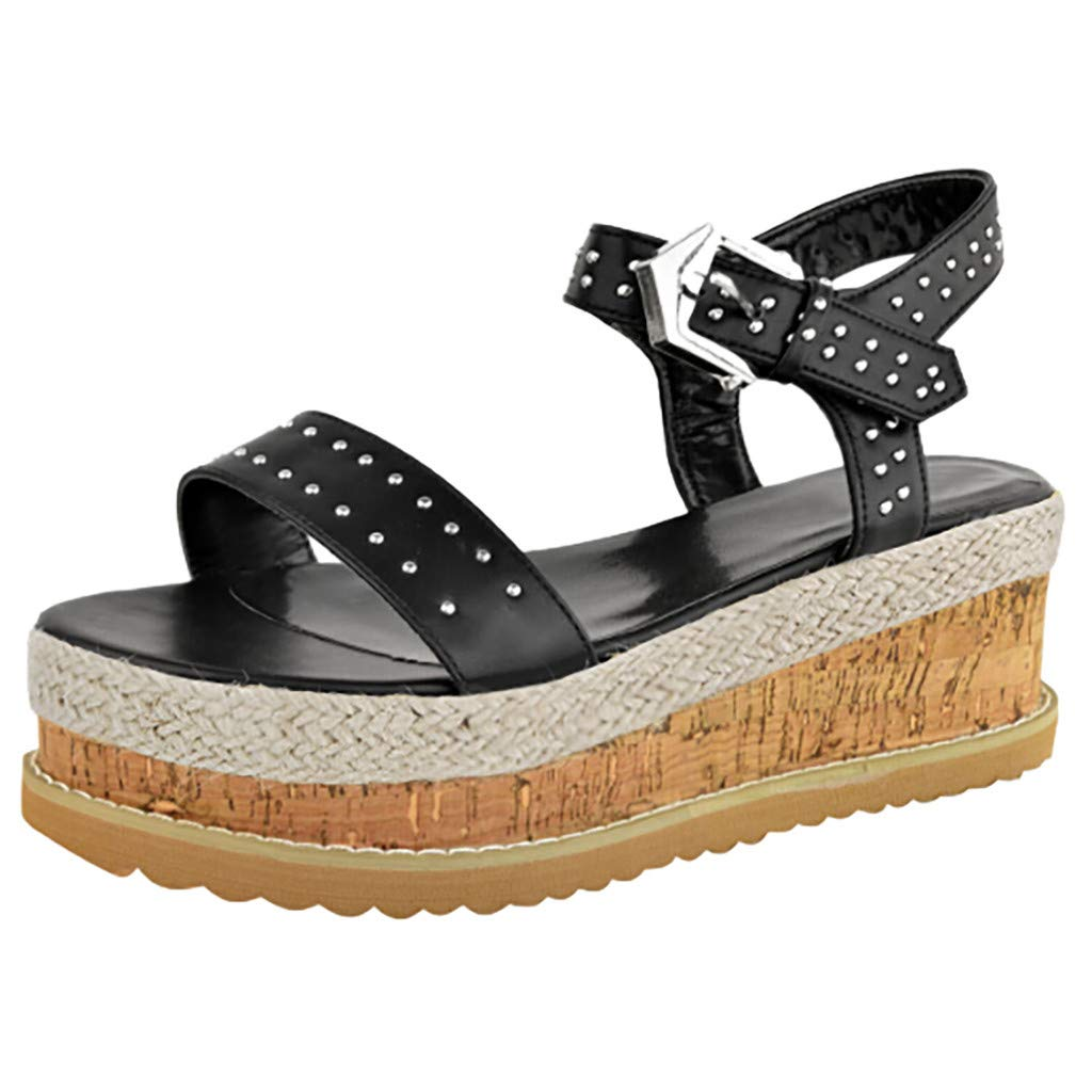 Shusuen Women Platform Beach Shoes Ankel Belt Buckle Sandals Black by Shusuen_shoes