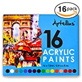 nail acrylic paint set - Artellius Acrylic Paint SET (16 INDIVIDUAL COLORS) - Non Toxic Formula - Great for Kids, Beginners, & Professional Painters - Paints on Canvas, Nail Art, Ceramics, Fabric, Clay, & More!