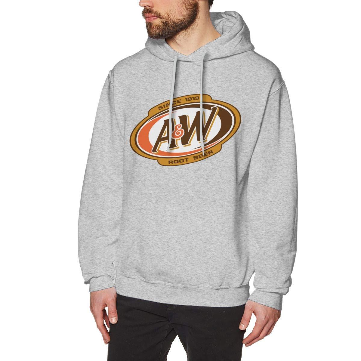 JiaoZhiduanxiu Man A/&W Root Beer Logo Trend Gray Hoodie Sweatshirt Jacket Pullover Tops