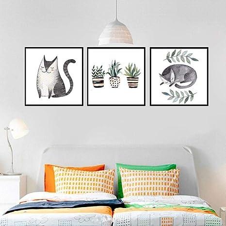 Llxhg Nordic Simple Living Room Decor Bild Kleine Frische Pflanze Topf Cute Cat Poster Restaurant Sofa Hintergrund Wand Leinwand Gemalde 30x40cmx3pcs Ungerahmt Amazon De Kuche Haushalt