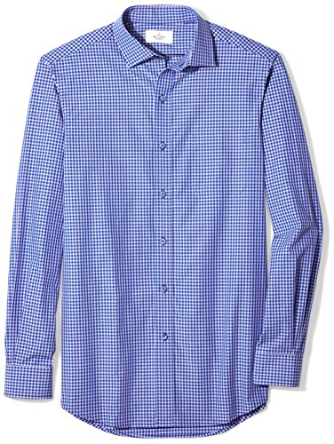 BUTTONED DOWN Men's Classic Fit Supima Cotton Spread-Collar Dress Casual Shirt, Purple/Navy Small Gingham, 4XL 34/35 (Big and Tall) -