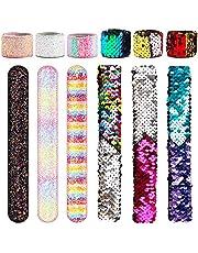 Sequin Slap Bracelets, AngleKai 12 Pack Mermaid Bracelets for Kids Party Favors Slap Magic Wristbands Sequin for Kids Birthday Christmas Gift (2 Colors) …