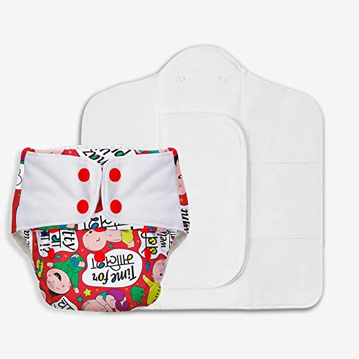 SuperBottoms Freesize UNO - Washable & Reusable Cloth Diaper + 2 Organic Cotton Dry Feel Regular Pads Set [Day &...