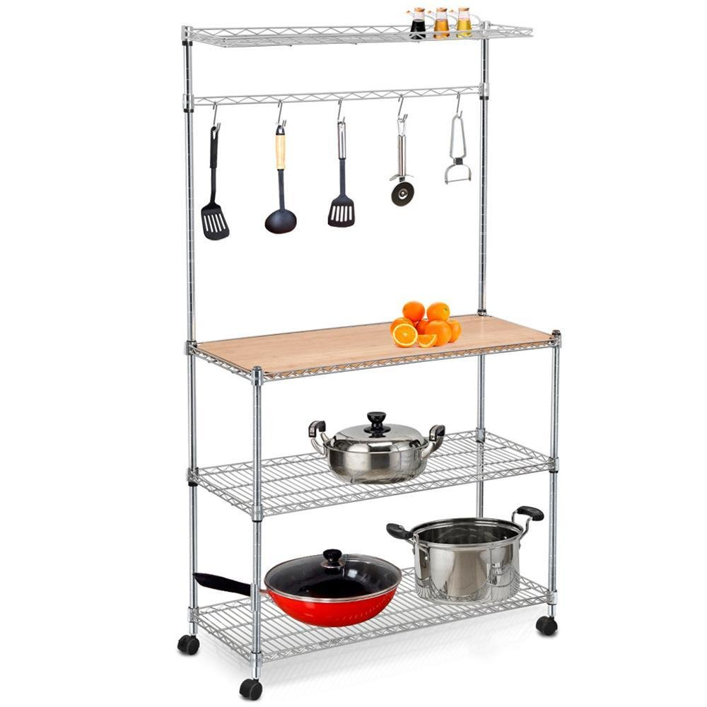 Amazon.com   Yaheetech 4 Tier Stainless Steel Metal Wire Kitchen Bakers  Rack Kitchen Workstation Storage Shelf Carts Hanging Pot Rack And Cutting  Board On ...