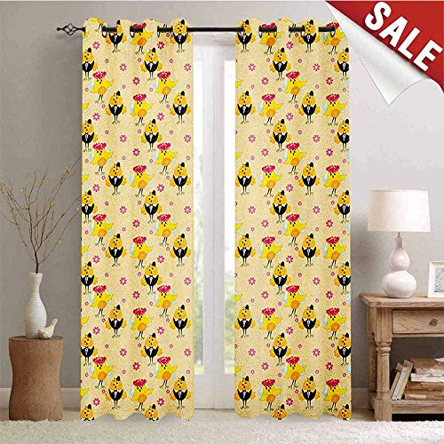 - Hengshu Wedding Waterproof Window Curtain Bride and Groom with Traditional Attire Suite and Veil Cartoon Style Happy Day Room Darkening Wide Curtains W84 x L96 Inch Multicolor