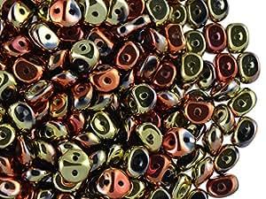 50pcs es-o Beads–Checo Presionado Perlas de Cristal Redondo 5mm con dos agujeros, Jet California Gold Rush