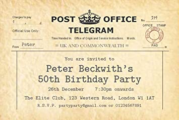 The Save Date People 50 PARTY INVITATIONS Personalised For You Vintage Telegram Birthday Invites