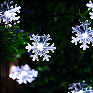 Solar Christmas Decorations.Naladoo Solar String Lights 20 Led Snowflake Waterproof Solar Christmas Fairy Lights For Outdoor Party Gardens Holiday Christmas Decorations