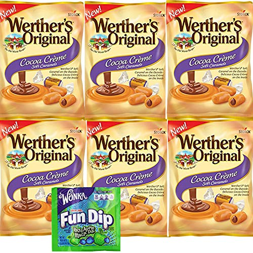 Werthers Cocoa Creme Soft Caramels. Six Bags of Werthers Original Caramel Cremes Candy. Easy Shopping For Delightfully Popular Candy Snacks. Vegetarian Friendly. Includes Fun Dip Sample.