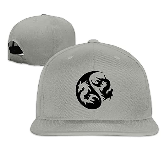 0607416c1967b Amazon.com  Dragon Yinyang Snapback Unisex Adjustable Flat Bill Visor  Hip-Hop Hat  Clothing
