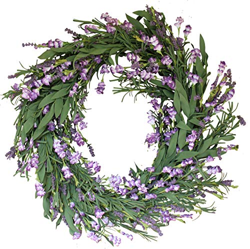 (The Wreath Depot Overbrook Silk Lavender Spring Door Wreath 22 Inch, White Storage Gift Box Included)