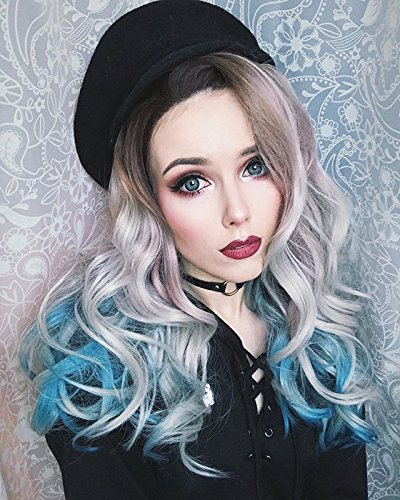 uniwigs Siren's Song Lace Front Wig, Ombre Color Brown To Ice Blue Long Wavy (Wig Brown Siren)