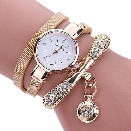 Reloj de Pulsera con Diamantes de imitación, Relojes de Dama de Moda para Mujer Relojes de Pulsera para Mujer (Beige): Amazon.es: Relojes