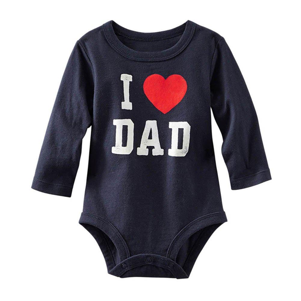 Minuya Unisex Baby Mädchen Jungen Ich liebe Papa / Mama gedruckt Strampler Overall