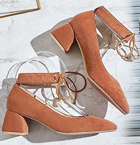 Fille Brun Bloc Escarpins Lacets Aisun Style Perles Talon Mode Femme x4nwfq7TZ0