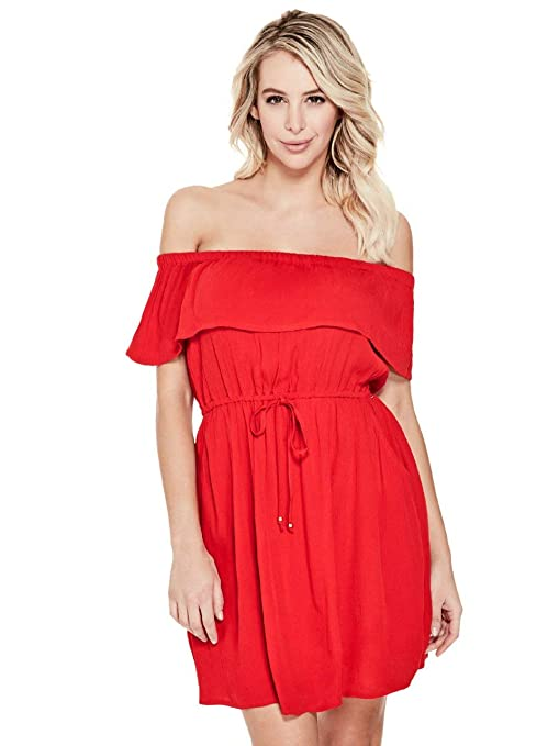 c71a479b0c Guess Factory Women s Drew Off-Shoulder Ruffle Dress  Amazon.ca  Sports    Outdoors