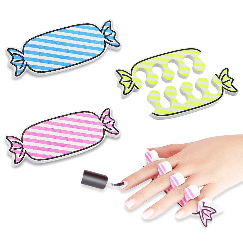 Toe Separators, 24PCS Toe Streightener Colorful Candy Shape Toe Stretchers Apply Nail Polish During Pedicure DomeStar