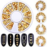 PINPAI 5 Wheels Nail Studs Rivets Metal Caviar Beads Frames Heart-shaped Mixed 3D Nail Art Decor Gold Ocean Seashell Starfish Manicure Nail Art Decoration